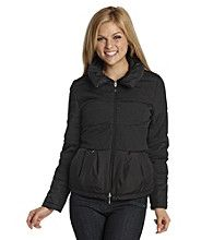 Blanc noir puffer jacket with tiered peplum