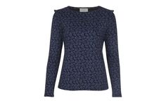 Scattered Leaf Print Top with Shoulder Frill at Laura Ashley