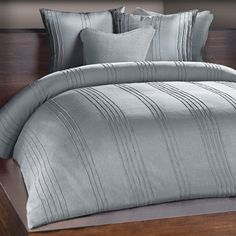 Chauran Avalon Mist Grey/ Blue Ridge Stitched Duvet Cover