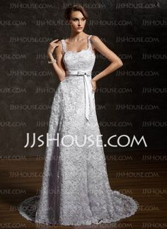 A-Line/Princess Sweetheart Chapel Train Satin Lace Wedding Dresses With Lace Sashes Beadwork (002011743)