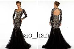 New Black Long Sleeve Backless Mermaid Formal Mother Of The Bride Evening Dress