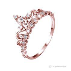 Dainty Rose Gold-plated 925 Sterling Silver Crown Ring / Princess Ring - AZDBR5456RG-DN rings
