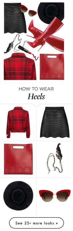 """""""Lady in Louboutin's"""" by missbeaheyvin on Polyvore featuring Eugenia Kim, Gucci, Woolrich, Dolce&Gabbana, Roberto Cavalli, NARS Cosmetics, Forever 21, christianlouboutin, Louboutin and HeelMadness"""