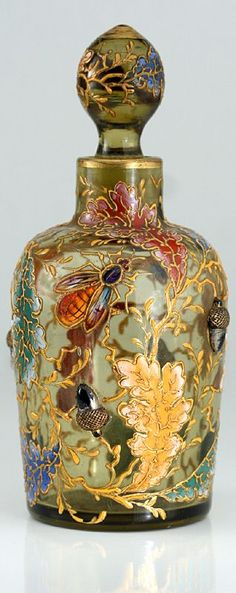 Moser is never not beautiful!    The enamelling is pitch prrfect for the period.  C. 1880 MOSER ENAMELLED GLASS SCENT PERFUME BOTTLE WITH INSECTS