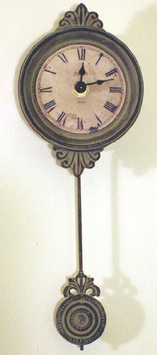 Captivating Small Pendulum Wall Clock   Verdigris Antique French Style: Amazon.co.uk: