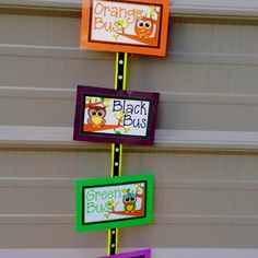 My owl bus clip chart-- cant see the pretty bow on top.. nine colors total...  bought from tpt.. added matching construction paper to the back and the ribbon..