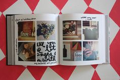 so awesome!  An instagram Blurb book.  After receiving the book she wrote all over the pages (added captions, arrows, etc.) with an American Crafts slick writer.  Would be so fun for a vacation album -- all instagram photos.  // elise blaha
