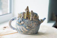 Clay Teapot - Ceramic Teapot - Wedding Gift - Cool Teapots - Unique Teapots -  - Ceramic art - Cute Teapots
