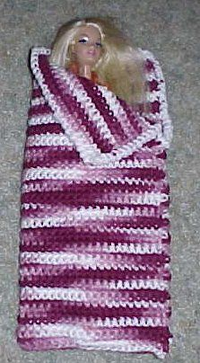 FASHION DOLL SLEEPING BAG Crochet Pattern - Free Crochet Pattern Courtesy of Crochetnmore.com