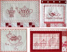 Free embroidery designs by Robin Kingsley at Bird Brain Designs (California) (shown are the holiday dove tea towel and flower filled heart)