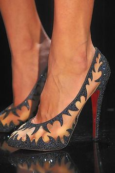 """Christian Louboutin sandals. This style is called """"Maralena"""" and features mesh design embellished with crystal trim, flexible slingback, leather lining, padded insole, 20mm hidden platform, 140mm crystal-covered stiletto, and the signature red leather sole."""