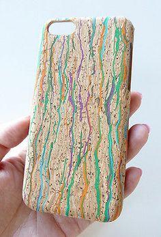 Unique Confetti Natural Wood Cork Phone Case Cover For Apple iPhone 5C 5 c +Film