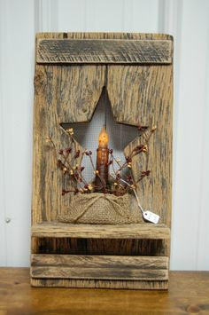Primitive Barnwood Plaque with Star and Candle | eBay