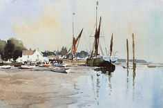 Edward Seago (1910 — 1974, UK) Sprit-Sail Barges at Pin Mill. watercolour. 14 x 21 in.