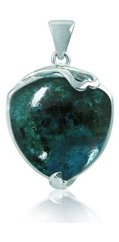 Sterling Silver Pendant with Free Shape Chrysocolla Stone (BTS-NP9870/CRY/R). Made from quality .925 sterling silver. Stylish design. 30 day satisfaction guarantee.