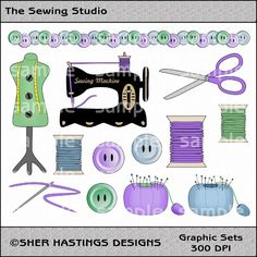 antique sewing clipart | Sewing Studio Clipart and Graphic Set, Sewing Clipart, Crafting ... ($)
