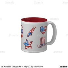 Patriotic Design 4th of July Party Mugs for kids. Matching cards , postage stamps and other products available in the Holidays / 4th of July Category of the artofmairin store at zazzle.com