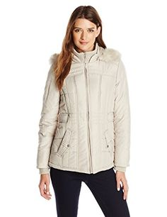 Weathertamer Womens Puffer Jacket with Faux Fur Trim Hood Tofu Large ** See this great product.