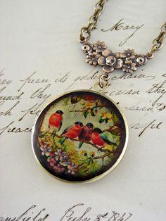 Locket Necklace - Promise of Spring Birds - Retro Vintage Brass LOCKET. $32.00, via Etsy.