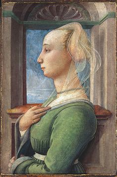 The Metropolitan Museum of Art - Portrait of a Lady. Standing before a window with a view onto the seacoast, this young woman, with her blonde hair, high forehead, fair complexion, and gesture of modesty or humility, epitomizes the Renaissance ideal of female beauty. Gold dots originally decorated the shell niche and the veil on her hair, adding a diaphanous quality. She is presented in terms not dissimilar to those of the Virgin Mary at the Annunciation—a portrait of demure virtue.