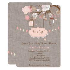 Baby Shower Invitation for Girl With Mason Jar