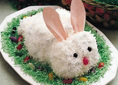 My grandma Grace would make this every Easter... she would put real colored eggs around the bunny!!