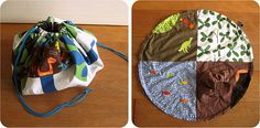 Play mat that cinches into a bag! Looks easy! Great idea!