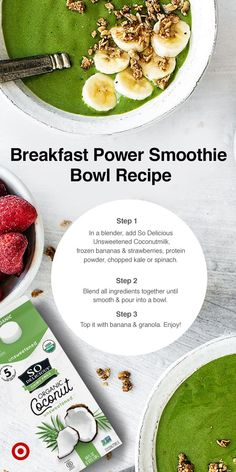 So Delicious : Target Healthy Meal Prep, Healthy Breakfast Recipes, Healthy Snacks, Vegetarian Recipes, Healthy Eating, Cooking Recipes, Healthy Recipes, Smoothie Bowl, Power Smoothie