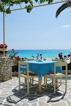 Greek Taverna, holiday dining, views, sunshine, shade, water