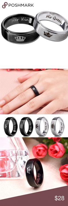 Couple's Set Beautiful set, perfect for Valentine's Day gift ! Stainless steal material, high quality !! Set: 1 silver ring ( her king ) size: 11 and 1 silver ring ( his queen ) size: 8. NOTE: Both rings are silver color .  Bundle the bracelet set and get an ADDITIONAL discount ! Jewelry Rings