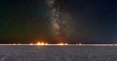 The night sky in 360 degrees, above the Bonneville Salt Flats