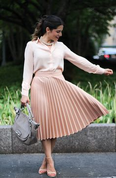 pleated-zara-skirt-spring-fashion.jpg (3314×2480) | blush pleated ...