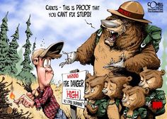 Stupid is, is stupid does!: Cartoon by Paul Combs Firefighter Memes, Wildland Firefighter, Volunteer Firefighter, Fire Dept, Fire Department, Fire Photography, Smokey The Bears, Nature Posters, Into The Fire