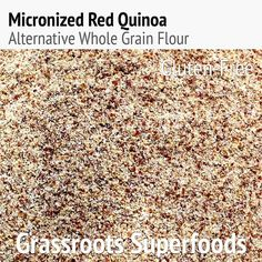 Micronized Red Quinoa Flour:  Fiber - Lysine - Protein  Gluten-Free; Organic  Red quinoa was eaten by Inca warriors who felt that it gave them added energy and strength when they were out at war and worshipped the red seeds. Lysine found in red quinoa helps with tissue repair and growth. High protein and fiber content in red quinoa delays gastric emptying and hence keeps you feeling fuller and more satisfied than white rice. Red quinoa provides a rich source of protein for vegans and…