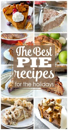 The best pie recipes for the holidays that you will want on your Thanksgiving and Christmas dessert table. Apple pie, Pumpkin Pie, Key Lime Pie and more.