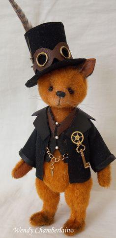 Steam punk fox - Marquis Emmett Blacklock-Ginger. Hand crafted miniature.