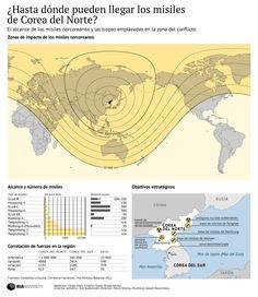 Alcance de los misiles de Corea del Norte.