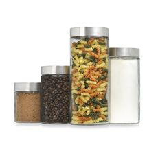 really like these glass canisters.  they give my everyday pantry items a super clean, sleek look on the countertop.