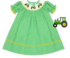 Preorder Green Tractor Smocked Dress