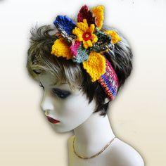 Hand Knitted Headband - Fruit Fiesta, Paradis Terrestre - Luxury British Made Accessories & Homeware Modern Hippie, Handmade Headbands, Unique Cards, Knitted Headband, Hand Knitting, Greeting Cards, British, Fruit, Retro