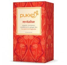 Revitalise tea is a unique blend of warming herbs with fantastic invigorating properties. Drink it throughout the day to boost your vitality and maintain a healthy glow. www.pukkaherbs.com