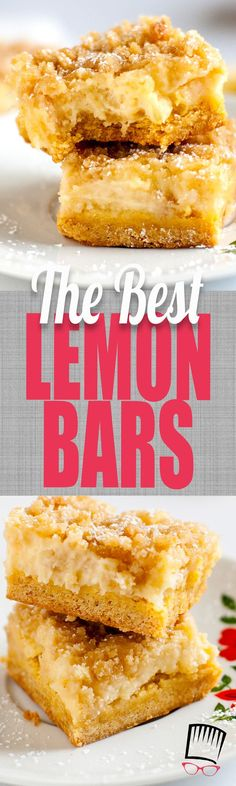 These really are the BEST lemon bars I've ever had. I'm not sure if it's the buttery crust or creamy, tart lemon filling but they are absolutely killer and everyone that tries them agrees they are the BEST!