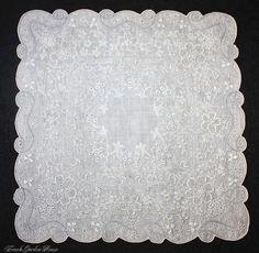 Antique Appenzell Embroidered Swiss Linen Wedding Bridal Handkerchief