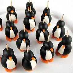 Olive Penguins! 3 ingredients plus toothpicks.
