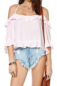 ROMWE Strapped Boat Neck Flouncing Light-pink Blouse