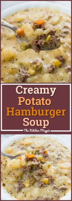 Creamy Potato and Hamburger soup! This hamburger soup is the perfect way to warm… Creamy Potato and Hamburger soup! This hamburger soup is the perfect way to warm up this winter! You can make it in the crockpot or stove top! From Karlynn Crock Pot Recipes, Crock Pot Cooking, Slow Cooker Recipes, Cooking Recipes, Healthy Recipes, Potato Soup Recipes, Creamy Soup Recipes, Beef Soup Recipes, Stove Top Recipes