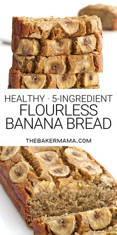 Just 5 ingredients to make this healthy loaf of banana bread that's moist, oaty and naturally sweetened with maple syrup. #bananabread #5ingredient