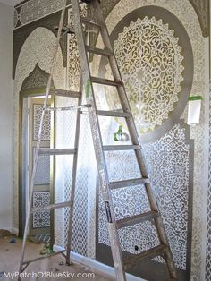 Photo of bedroom patterns in progress at Peacock Pavilions