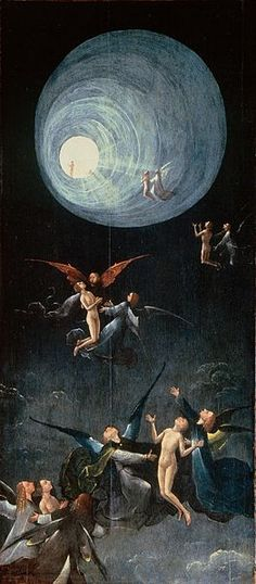 """""""Ascent of the Blessed"""" by Hieronymus Bosch.  ca 1490 - 1516. Tunnel of light depicted similar to that reported by people who have had a Near-Death Experience. (NDE)."""