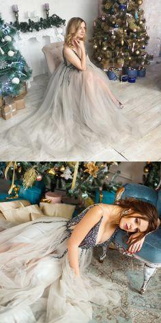 luxurious prom dress 2k18, v neck grey long prom dress with side slit, beads bodice prom dress, wedding dress, fomal evening dress